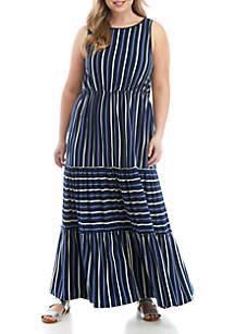 TRUE CRAFT Plus Size Sleeveless Tiered Midi Dress