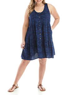 TRUE CRAFT Plus Size Woven Button Front Dress