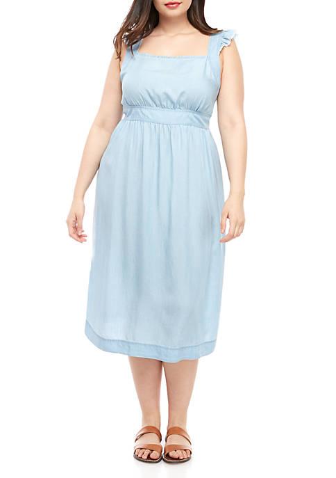 Plus Size Woven Apron Dress
