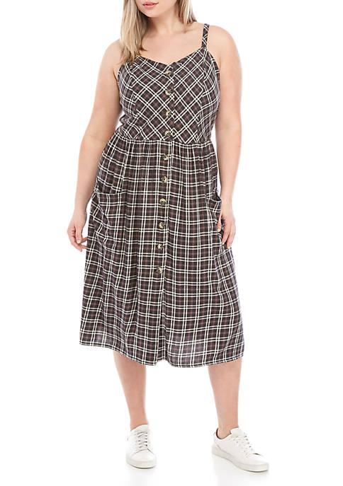 TRUE CRAFT Plus Size Button Midi Dres