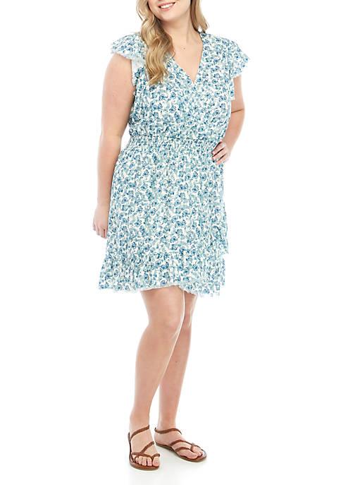 Plus Size Smocked Wrap Dress