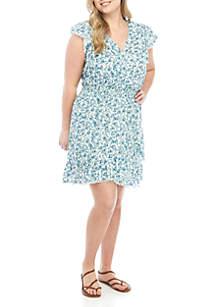 TRUE CRAFT Plus Size Smocked Wrap Dress