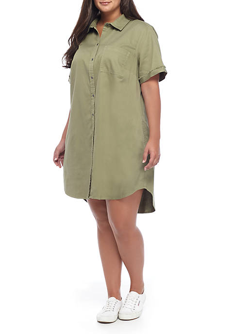 TRUE CRAFT Plus Size Short Sleeve Button Up