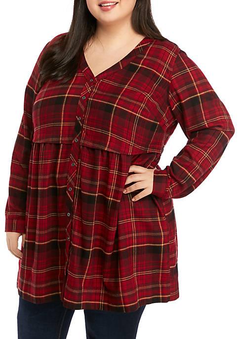 TRUE CRAFT Plus Size Button Down Dress