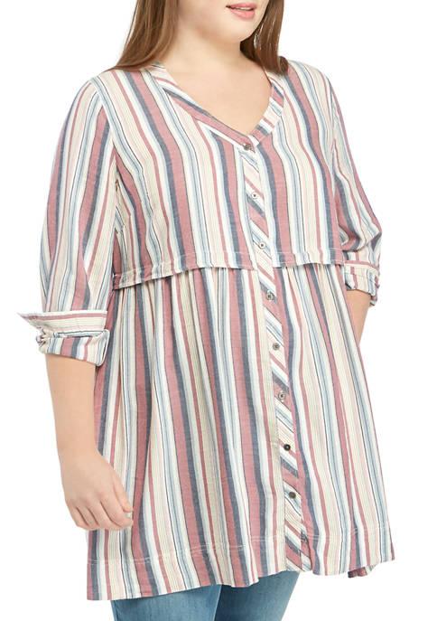 Plus Size Button Down Fray Hem Long Sleeve Dress