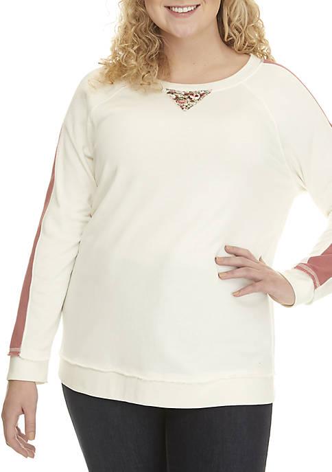 Plus Size Striped Sleeve Sweatshirt