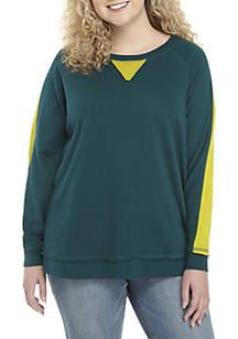 3e1c8950e19 ... TRUE CRAFT Plus Size Striped Sleeve Sweatshirt