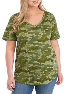 40bf19a7b0eff ... Plus Size Short Sleeve V Neck Camo Print Top