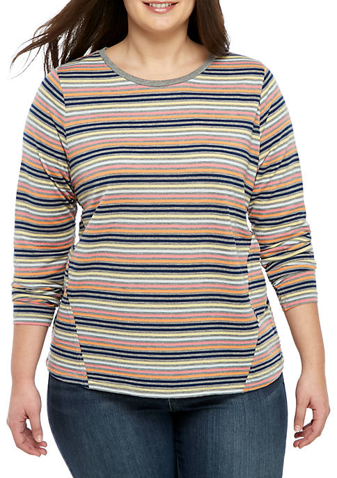 Plus Size Long Sleeve Stripe Crew Neck Top