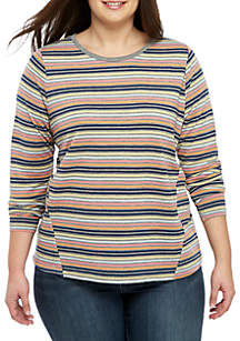 TRUE CRAFT Plus Size Long Sleeve Stripe Crew Neck Top