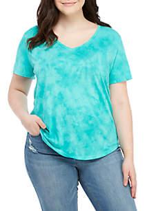 Plus Size Solid V-Neck Shirt