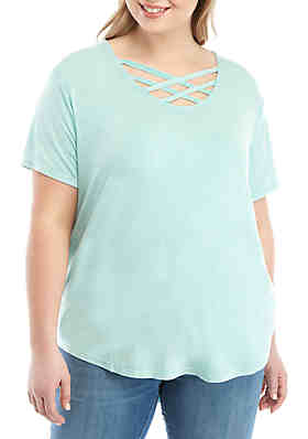 7342bc1a0 TRUE CRAFT Plus Size Lace Neck T Shirt ...