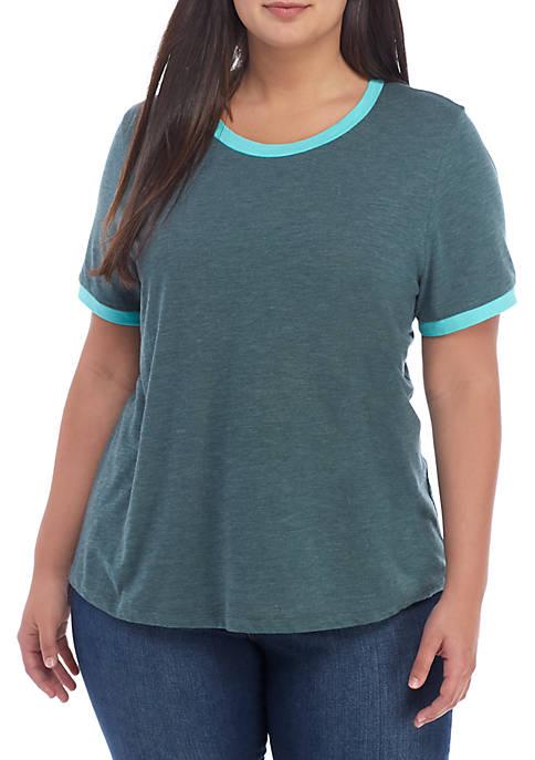 Plus Size Scoop Neck Trim T-Shirt