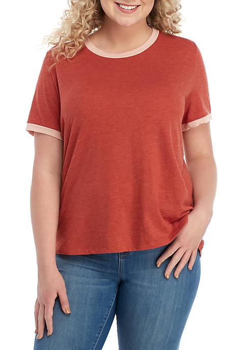 TRUE CRAFT Plus Size Scoop Neck Trim T-Shirt