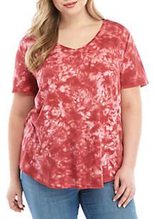 TRUE CRAFT Plus Size Tie Dye V Neck T Shirt