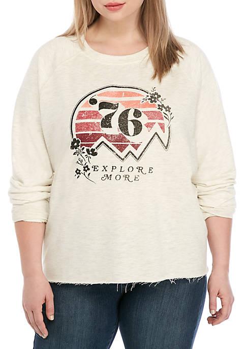 Plus Size Crew Neck Heather Graphic Sweatshirt