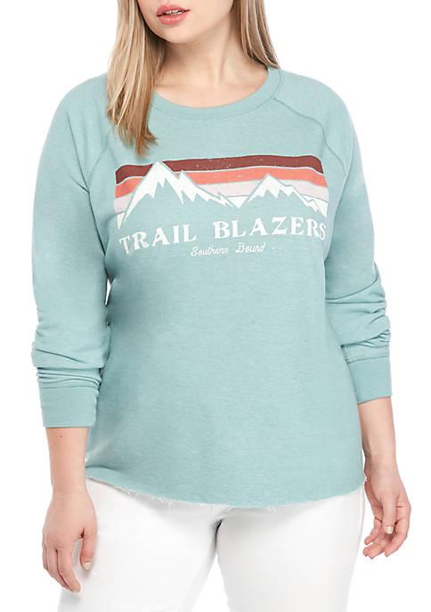 TRUE CRAFT Plus Size Crew Neck Graphic Sweatshirt