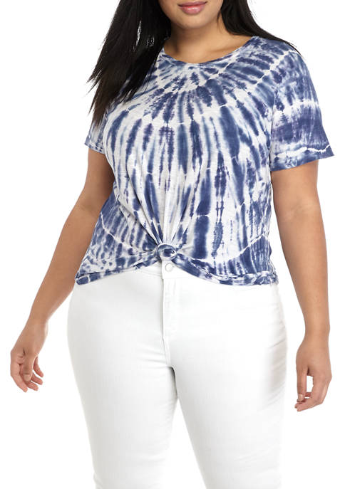 Plus Size Tie Dye Crew Neck T-Shirt