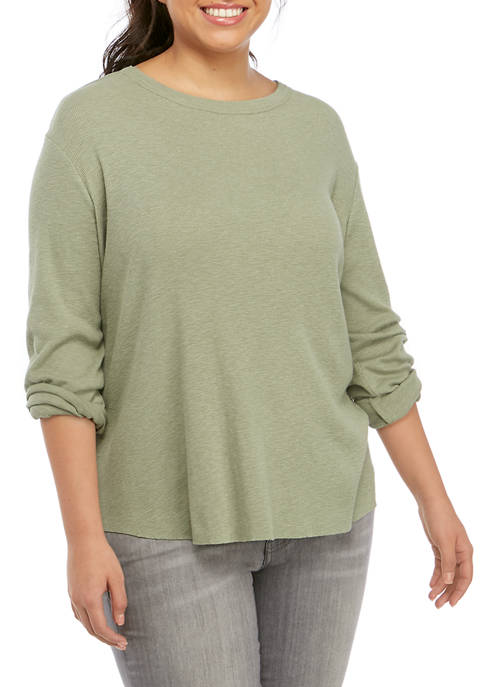 Plus Size Long Sleeve Fitted Rib T-Shirt