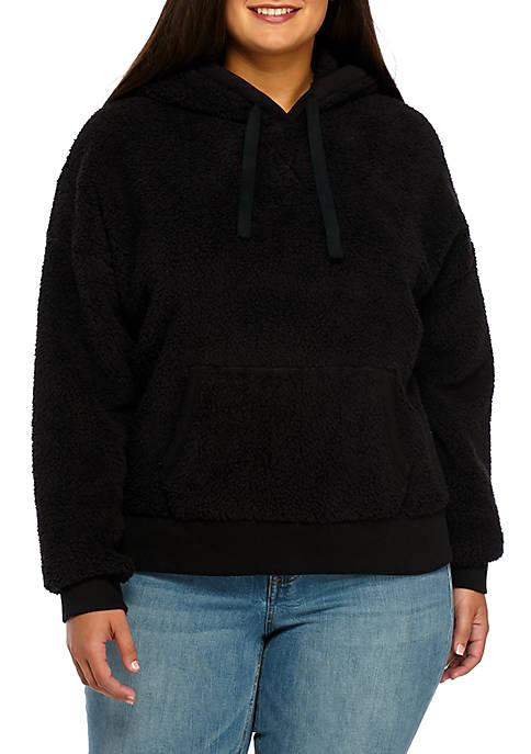 Plus Size Popover Sherpa Jacket