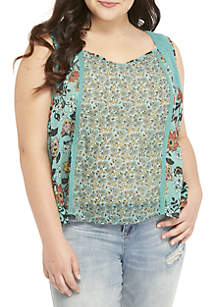 Plus Size Beaded Mesh Top
