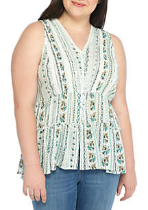 Plus Size Tiered Button-Down Blouse