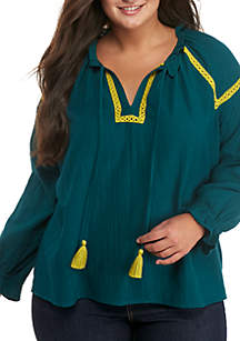 Plus Size Embroidered Solid Peasant Top
