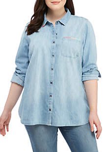 Plus Size Button Up Top