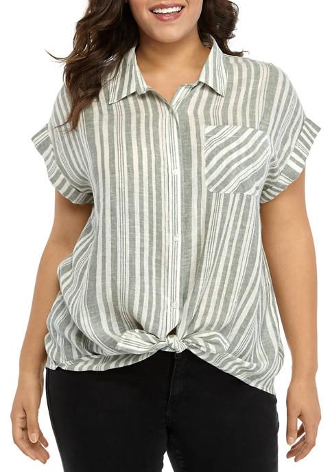 Plus Size Short Sleeve Camp Shirt