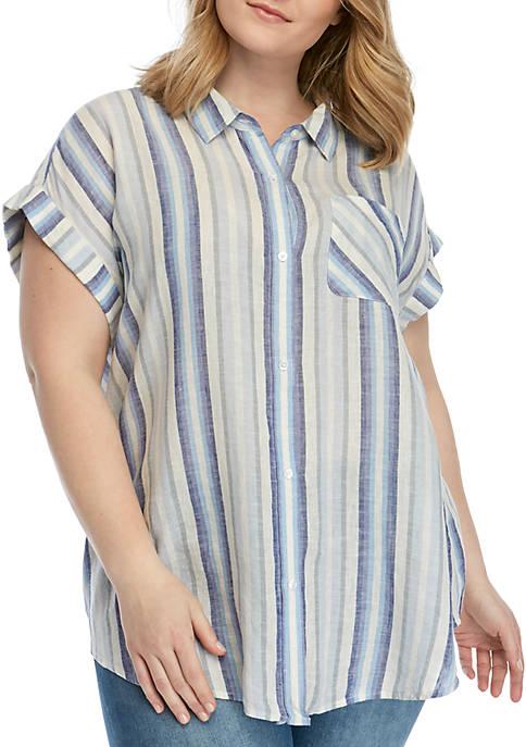 TRUE CRAFT Plus Size Short Sleeve Camp Shirt