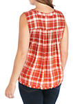 Plus Size Sleeveless Button Up Top