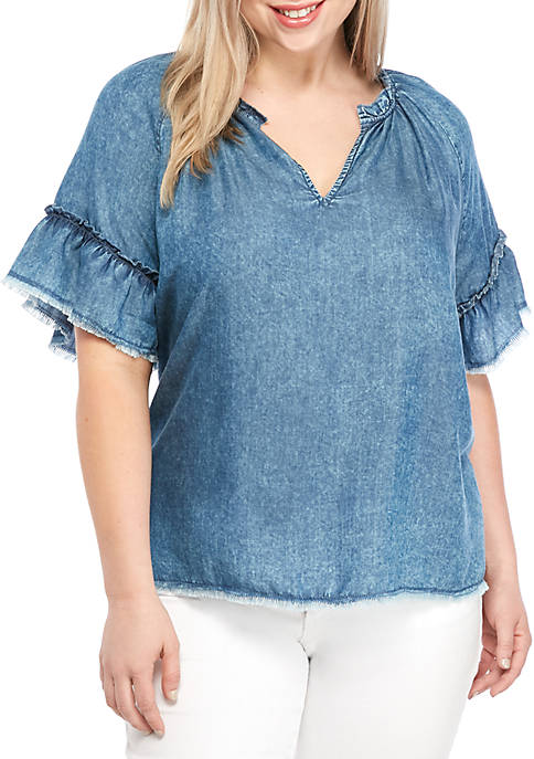 TRUE CRAFT Plus Size Chambray Popover Top