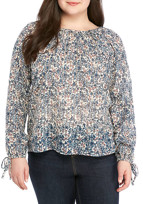 TRUE CRAFT Plus Size Boat Neck Popover Top