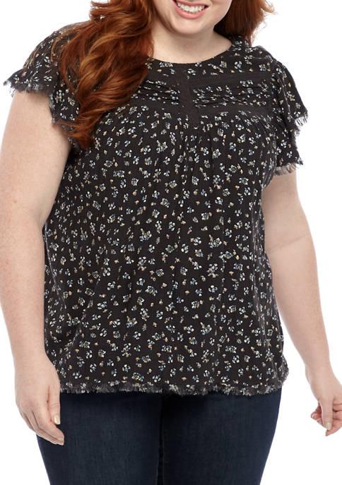Plus Size Lace Trim Yoke Top