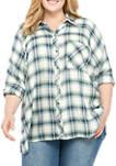 Plus Size Dolman Sleeve Button Down Shirt