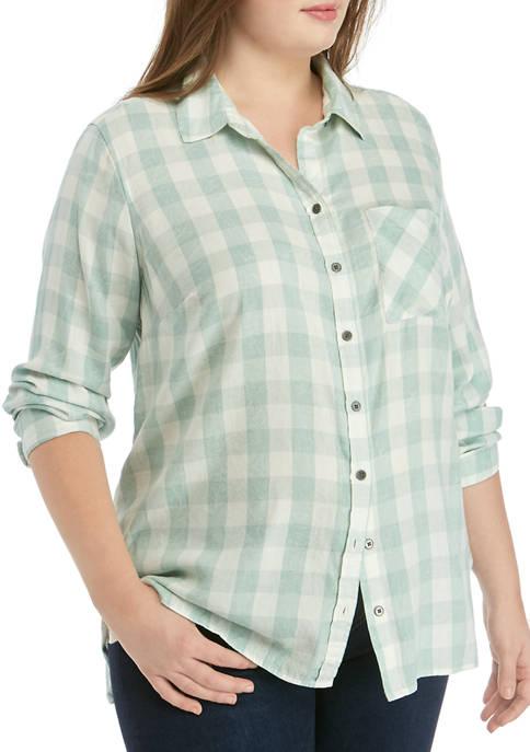 TRUE CRAFT Plus Size Button Up Shirt
