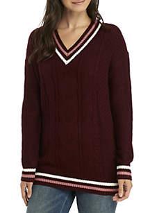 Varsity Deep V-Neck Sweater