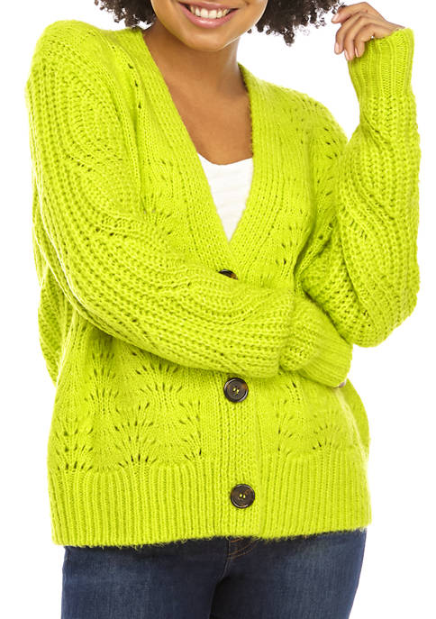 Juniors Button Down Neon Cardigan