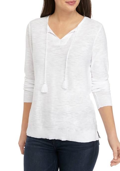 Kim Rogers® Petite Popover Tassel Solid Sweater