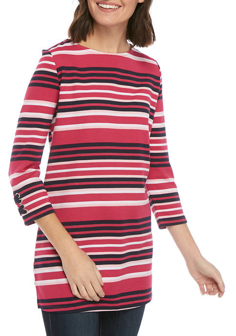 Kim Rogers® Womens Ottoman Stripe 3/4 Sleeve Top