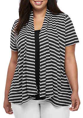 65c685ab Kim Rogers® Plus Size Striped 2Fer ...