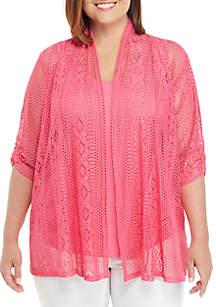 Kim Rogers® Plus Size Lace 2Fer Top