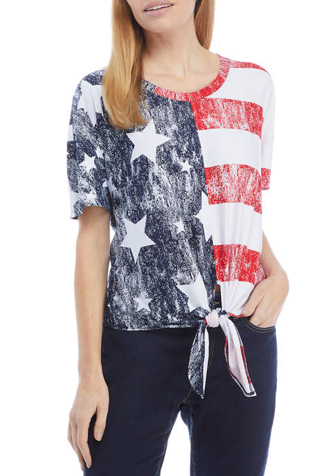 Petite Star and Stripe Tie Front Top