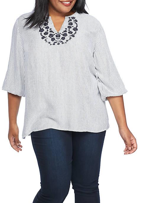 Plus Size Embroidery Bib Stripe Tunic