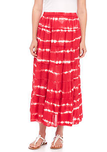 Tie-Dyed Tiered Skirt