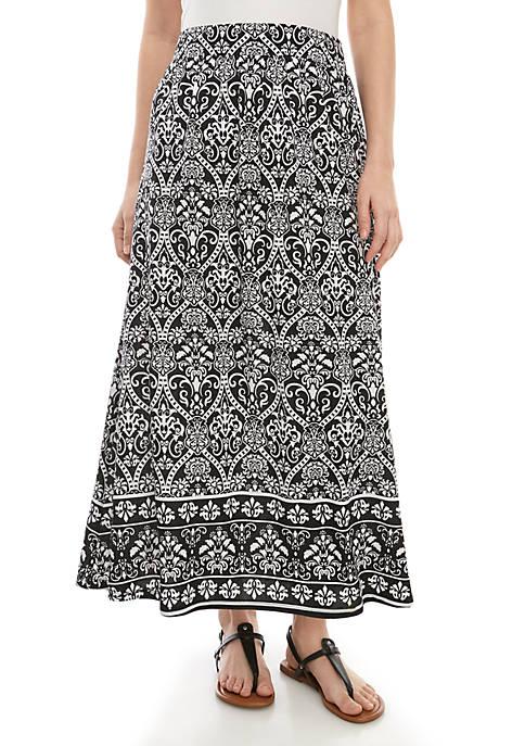 Long Knit Scroll Skirt