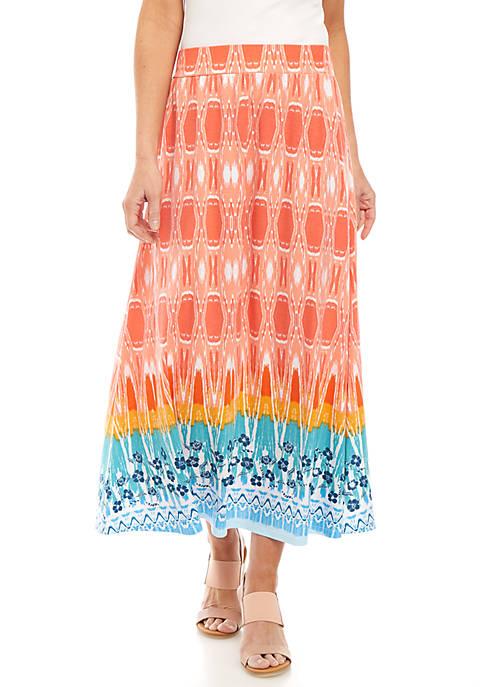 Kim Rogers® Multi Border Long Knit Skirt