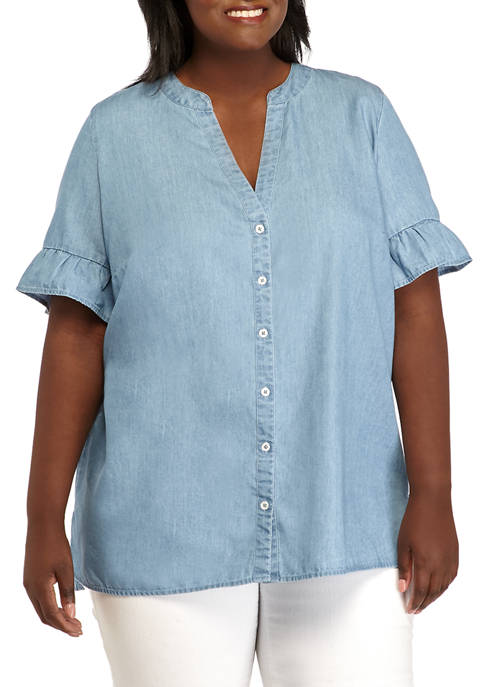 Plus Size Ruffle Sleeve Button Up Chambray Top
