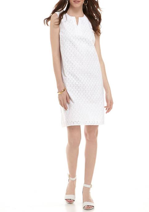 Womens Sleeveless Eyelet Dress