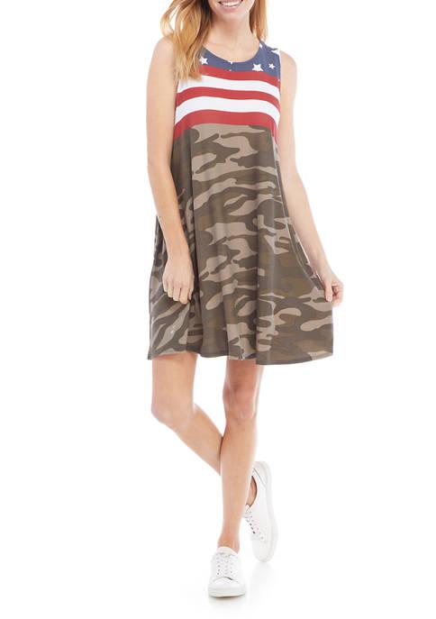 Petite Sleeveless Americana Swing Dress